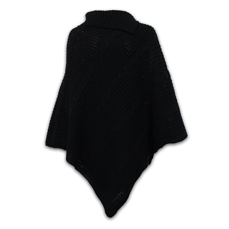 Damen Poncho Pullover Gestrickt Umhang