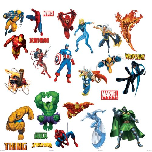 Marvel Heroes Comic - Spider-man, Captain America, Hulk, Fantastic 4, Thing, Thor, Wolverine, Ironman, Ghost Rider Wall Decal (Marvel Decal compare prices)