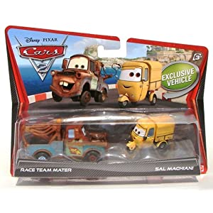 Disney Cars 2 Race Team Mater & Sal Machiani Diecast Vehicle 2-Pack 1:55 Scale