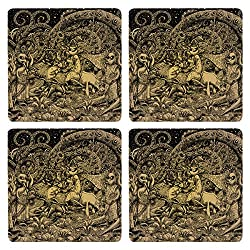 Posterboy The Alien Radha Krishna MDF Coaster Set, Set of 4, 101mm, Multicolor