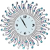Sunburst & Clear / Blue / Purple Faux Crystal Gemstones Metal Wall Mounted Clock (Analog) - MyGift®