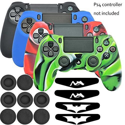 Lightbird Playstation 4 Controller Soft Silicone Skin Cover with Light Bar Decal Skin Stickers and Thumb Stick Grip Covers for Sony PS4 Controller(Skin X 4 + Thumb Grip X 8 + Sticker X 4) (Silicone Ps3 Controller Cover compare prices)