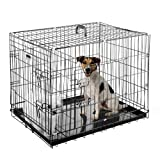 Pet Trex 30 Inch Folding Crate-N-Kennel Double Door Heavy Duty Metal Cage 30