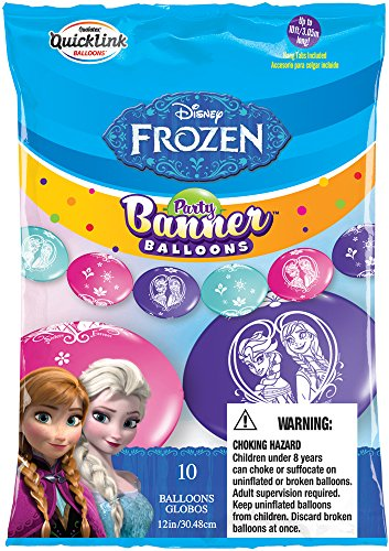 Party Banner Balloons 10 Count Disney Frozen QuickLink Banner Balloons, 12-Inch - 1
