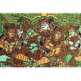 Retcomm Solutions Kerala Mural Krishna With Gopis Canvas Frame Painting (91.44 Cm X 0.12 Cm X 60.96 Cm)