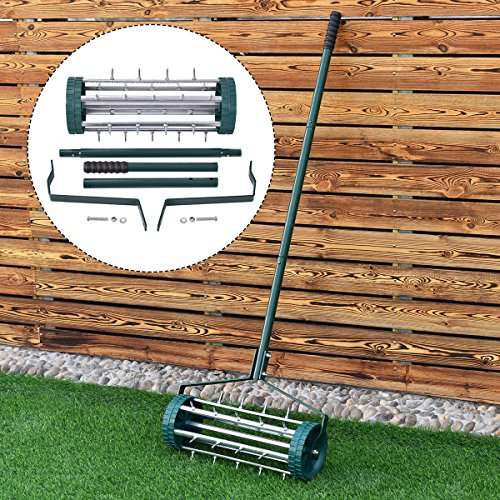 COLIBROX--Heavy Duty Rolling Garden Lawn Aerator Roller Home Grass Steel Handle Green New. rolling lawn aerator home depot. drum aerator tractor supply. push lawn aerator. lawn aerator for sale.