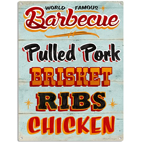 Barbecue Food Menu BBQ Restaurant Kitchen Metal Sign 12 x 16 (Restaurant Bbq compare prices)