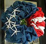 Hinterland Trading Red, White and Blue American Flag Burlap Wreaths, 22-Inch