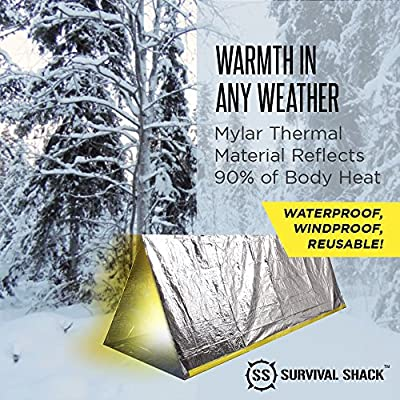 Survival Shack® Emergency Survival Shelter Tent | 2 Person Mylar Thermal Shelter | 8' X 5' All Weather Tube Tent | Reflective Material Conserves Heat | Lightweight | Waterproof | Best Survival Gear from SharpSurvival
