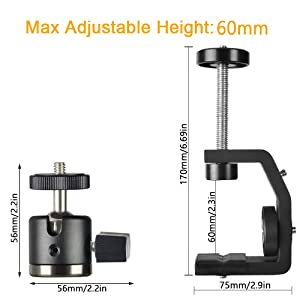 UTEBIT Super Mini Ball Head with C Clamp Adjustable Camera Mount Clamp Set 360 Degree Swivel Tripod Head with Hot Shoe and 1//4 Screw Compatible for Canon Compatible for Nikon DSLR Monitor