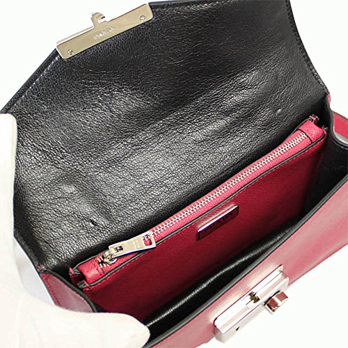PRADA Women's Saffiano Leather Clutch Bag W/Strap Pink Bt0960 Peonia