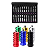 Jili Online 22Pcs Stainless Steel Tattoo Nozzle Tips Set with 6 Colors Aluminum Ribbed Tattoo Machine Grips