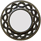 Divraya Wood Round Wall Mirror (30.48 Cm X 4 Cm X 30.48 Cm, Black)