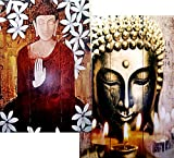 Buddha with Candles Altar 3-panel Double Sided Painting Canvas Room Divider Screen