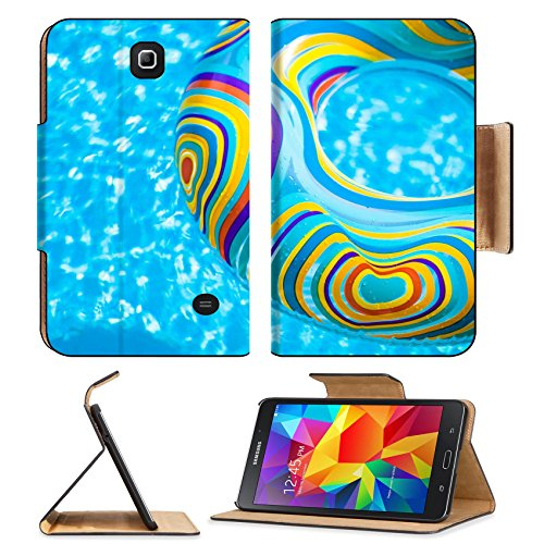 MSD Premium Samsung Galaxy Tab 4 7.0 Inch Flip Pu Leather Wallet Case Inflatable colorful Rubber Ring floating in blue swimming pool Image ID 23577454