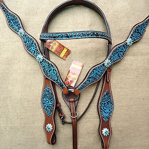 Western Leather Horse Headstall Bridle Breast Collar Turquoise Floral Antique