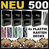 Pokerset Texas Hold'em mit 500 hochwertigen 12 Gramm Metallkern Laserchips