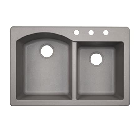 Swaoi|#Swanstone QZ03322DB.173-3 22-In X 33-In Granite Kitchen Sink 3-Hole, Metallico,