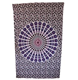 Wild Lotus Mandala Tapestry Assorted Multi-Color Twin