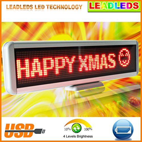 """17""""X4.3"""" Single Line Red Rechargeable Led Desktop Moving Sign With Free Programing Software"""