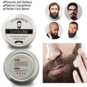 TIMKDLE Beard Grooming Kit,Natural Plan Extract for Moisturizing and Beard Care for Styling Beard Grooming Set,6PCS Men's Beard Grooming & Trimming Tr