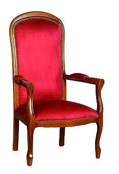 Fauteuil Voltaire rouge, Dim L.610 x P.700 x Ht 1115 x Ht. Assise 410 mm -PEGANE-