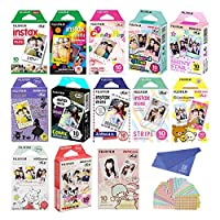 Fujifilm Instax Mini Film 13 Pack Single Pack, Rainbow, Candy Pop, Stained Glass, Shiny Star, Alice, Comic, Airmail, Stripe, RiLakkuma, Pooh, MICKEY, Little Twin Stars and withC Cleaning Cloth