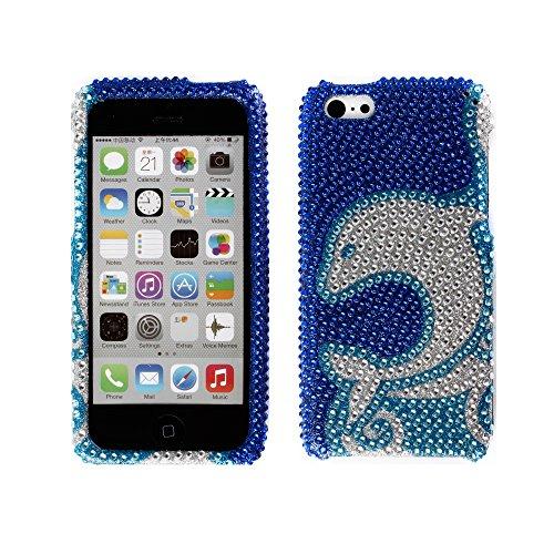 Fincibo (Tm) Apple Iphone 5C Light Lite Bling Crystal Full Rhinestones Diamond Case Protector - Blue Dolphin Waves