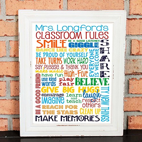 PERSONALIZED Classroom Rules for Elementary School or Preschool School Teacher - Classroom Art - Teacher - Primary Colors - Classroom Rules - TEACHER GIFT - UNFRAMED Poster Print