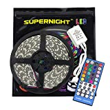 SUPERNIGHT RGBWW LED Strip Light, 5050 16.4ft RGBWW Waterproof LED Flexible Lighting, 12V 300LEDs, 5M RGB+Warm White Multi-colored LED Tape Lights + 40 Keys Infraed Remote Controller -