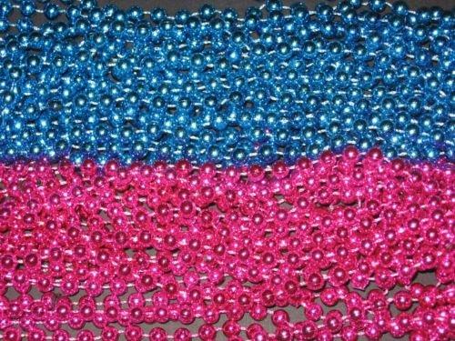 [6 DOZEN (72) PINK/BLUE MARDI GRAS BEADS-BABY SHOWER/GENDER REVEAL-] (Jumbo Mardi Gras Beads)