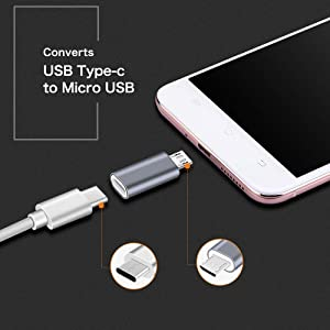 USB C to Micro USB Adapter, (4-Pack) Type C Female to Micro USB Male Convert Connector Support Charge & Data Sync Compatible with Samsung Galaxy S7/S7 Edge, Nexus 5/6 and Micro USB Devices(Grey) (Color: Grey)