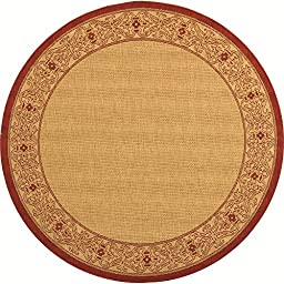 Safavieh Courtyard Collection CY2099-3701 Natural and Red Indoor/ Outdoor Round Area Rug, 5 feet 3 inches in Diameter (5\'3\