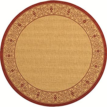 "Safavieh Courtyard Collection CY2099-3701 Natural and Red Indoor/ Outdoor Round Area Rug (53"" Diameter)"