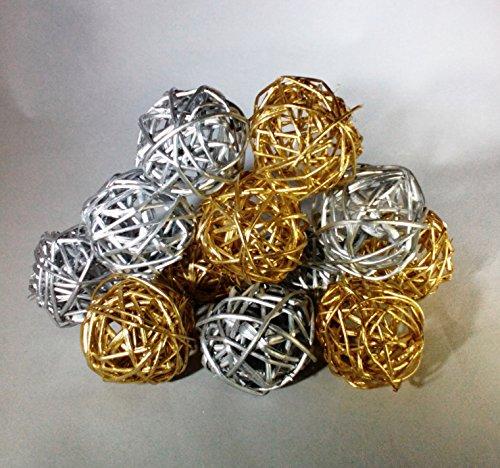 Decorative spheres silver and gold rattan vase filler