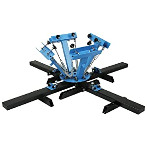 VEVOR Screen Printing Press 4 Color 4 Station and 6 Pieces 18x20 Inch Aluminum Silk Screen Printing Frames with White 160 Count Mesh (Color: 4 Color 4 Station, Tamaño: 18x20Inch/160mesh)