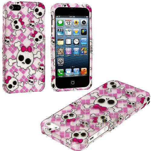Mylife (Tm) White + Pink Bows And Skulls Series (2 Piece Snap On) Hardshell Plates Case For The Iphone 5/5S (5G) 5Th Generation Touch Phone (Clip Fitted Front And Back Solid Cover Case + Rubberized Tough Armor Skin + Lifetime Warranty + Sealed Inside Myli