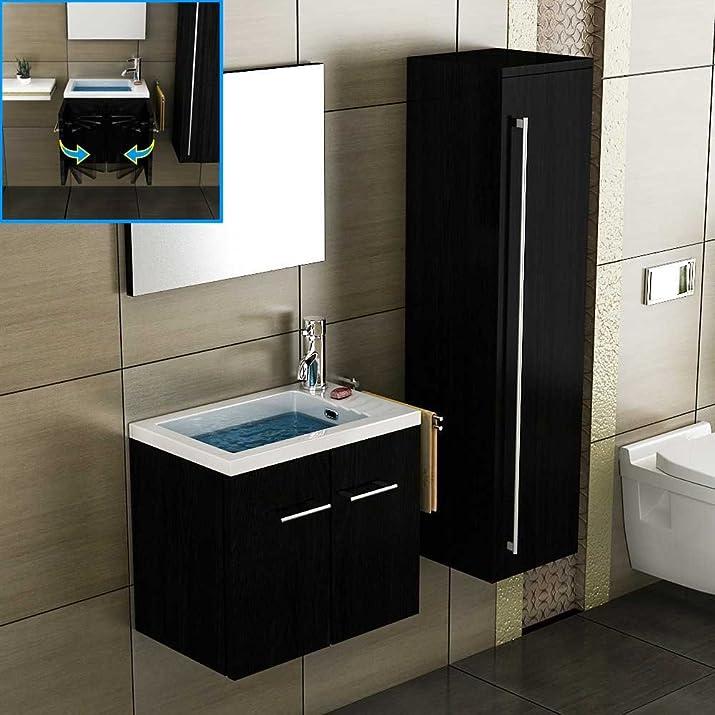 Mobiletto con lavabo,/armadio da bagno/specchio/armadio alto/colore nero/lavabo/lavabo