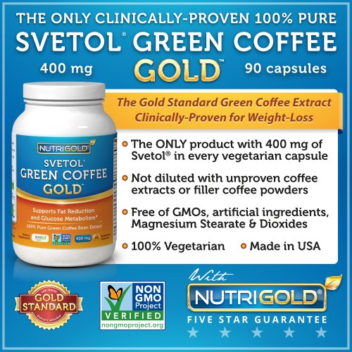 NutriGold Pure Green Coffee Bean Extract, Green Coffee Gold Featuring Clinically-Proven 100% Svetol, 90 Vegetarian Capsules