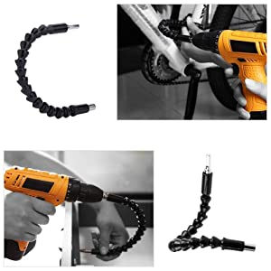 2PC Flexible Drill Extension-Magnetic Hex Flexible Shaft, Flexible Screwdriver Extension for Drive Shaft Point Drill Kit Adapter-Multi-Angle Bending Drill Bit Extension (300mm) (Color: 2PC)