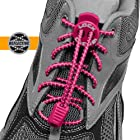LOCK LACES (Patented Elastic Shoelace and Fastening System) (Reflective-Vivid Pink)