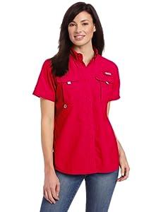 Columbia Women's Bahama Short Sleeve Shirt, Small, Bright Rose