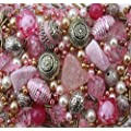 Approx 275 x Rose Garden Pink Jewellery Making Starter Beads Mix Set