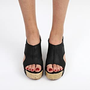 c088f5c3f47d4f Women Summer Sandals Round Toe Breathable Rivet Beach Casual Sandals Boho  Wedges Shoes (Black
