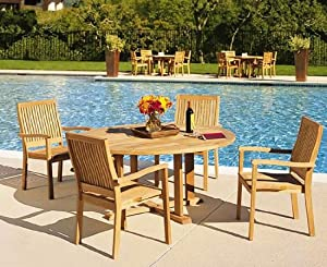 "Grade-A Teak Wood Luxurious Dining Set Collections: 5 pc - 60"" Round Table And 4 Leveb Stacking Arm Chairs"