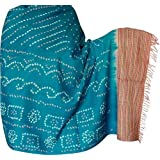 Embroidered Shawls Tie & Dye Pattern in Wool Fabric 203 x 88 Cmby ShalinIndia