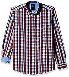 Vivaldi Men's Casual Shirt (8907007112397_VC0843_Small_RD/NY/SK)