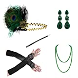 1920s Accessories Headband Necklace Gloves Cigarette Holder Flapper Costume Accessories Set for Women(ac1) (Color: Ac1, Tamaño: Normal)