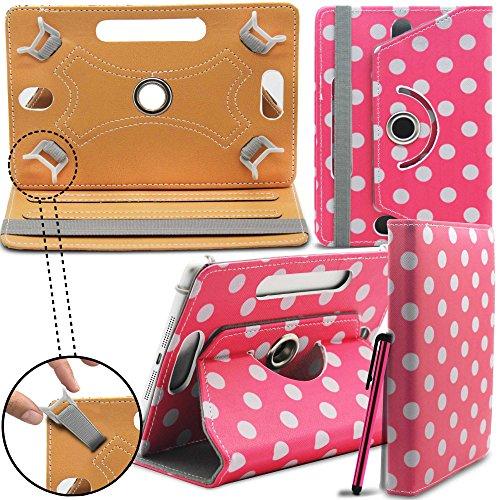 Prestigio MultiPad 8.0 Pro Duo Tablet Neues Design Universelle um 360 Grad drehbare PU-Leder Designer bunte Hülle mit Standfunktion - Cover - Tasche - Rosa Polka / Pink Polka Dot - Von Gadget Giant®