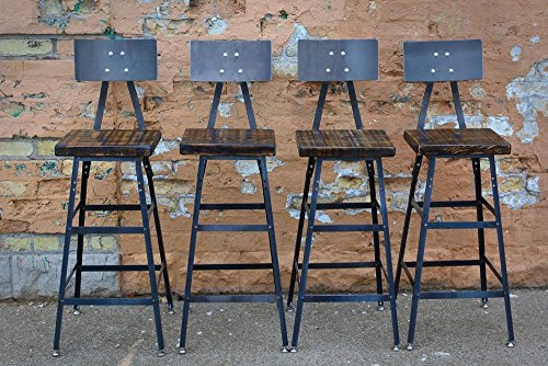 Set of Four Reclaimed Wood Stools | Salvaged Barn Wood | Steel Backrest